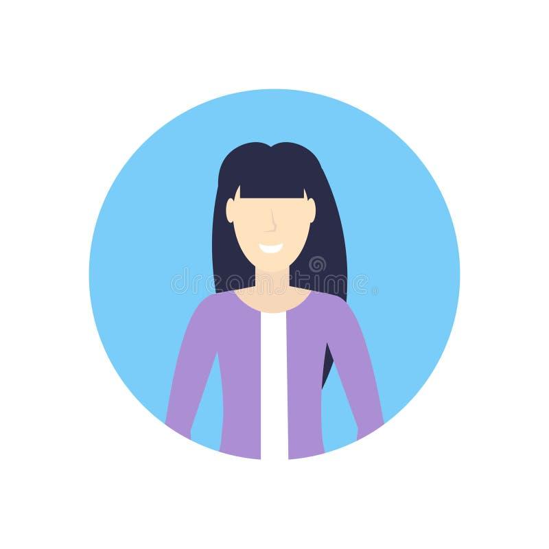 Fond blanc plat de femme d'affaires de visage d'avatar de fille de portrait femelle asiatique heureux caucasien de personnage de  illustration stock