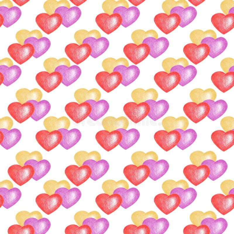 Fond blanc, thème d'amour Configuration sans joint avec les coeurs color?s images libres de droits