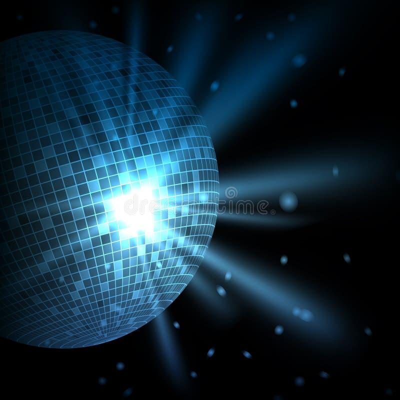 Fond bleu abstrait avec BAL de disco illustration stock