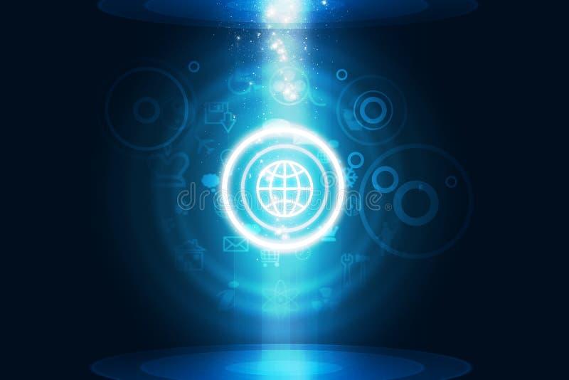 Fond bleu abstrait avec des icônes d'ordinateur illustration de vecteur