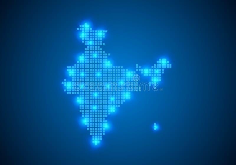 Fond bleu abstrait avec la carte, ligne d'Internet, points reli?s carte avec des noeuds de point Concept global de connexion r?se illustration libre de droits