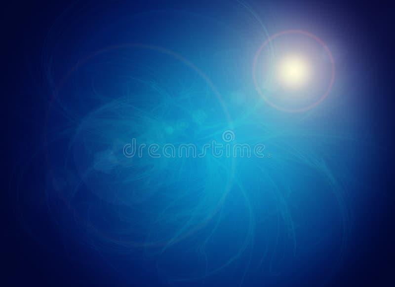 Fond bleu abstrait avec la petite tache rougeoyante illustration stock