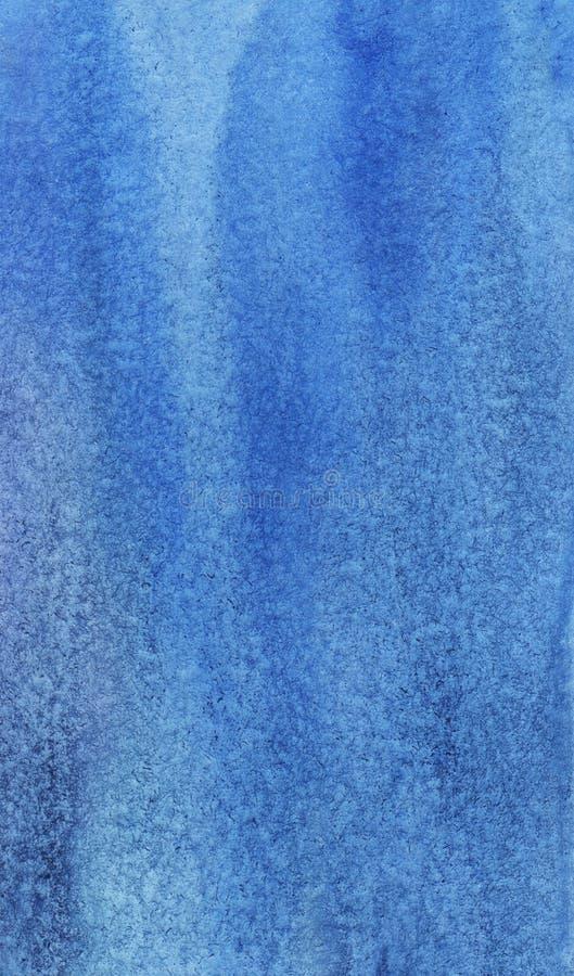 Fond bleu abstrait d'aquarelle Peint à la main sur le papier texturisé photographie stock libre de droits
