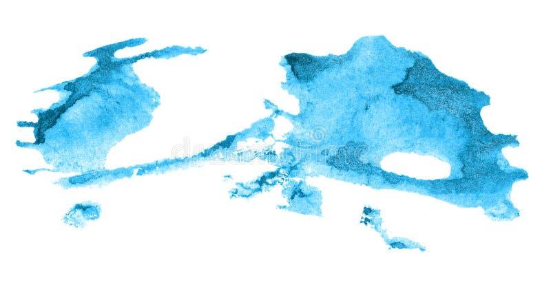 Fond bleu abstrait d'aquarelle Texture colorée de peinture d'aquarelle course de brosse d'isolement sur le blanc Modèle vif de ta illustration de vecteur