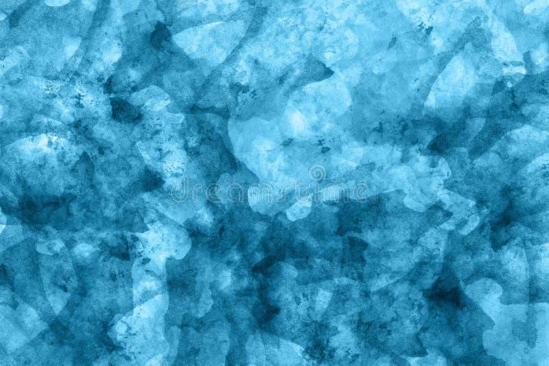 Fond bleu abstrait d'aquarelle Texture colorée de peinture d'aquarelle Rappes de balai Modèle vif de tache d'encre Peignez l'?cla illustration stock