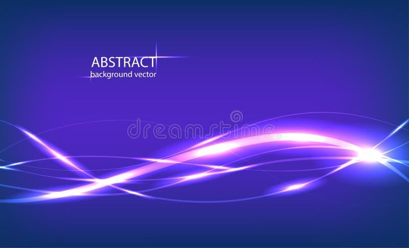 Fond bleu abstrait d'effet de la lumière de mouvement de vecteur illustration stock