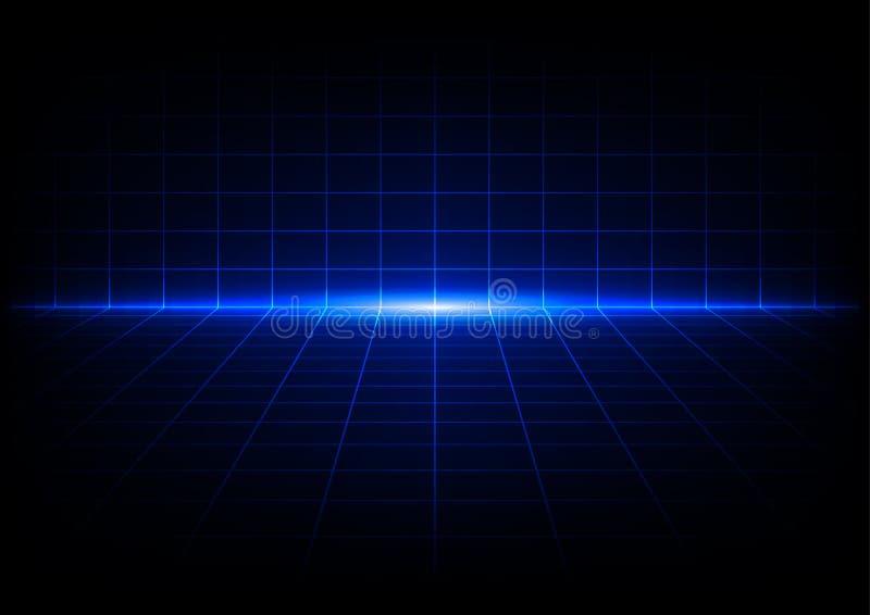 Fond bleu abstrait de conception de perspective de grilles illustration de vecteur