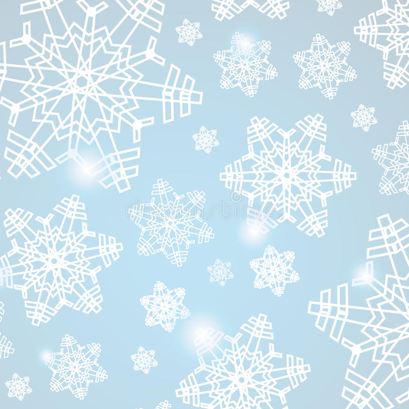Fond bleu abstrait de Noël avec des flocons de neige illustration libre de droits