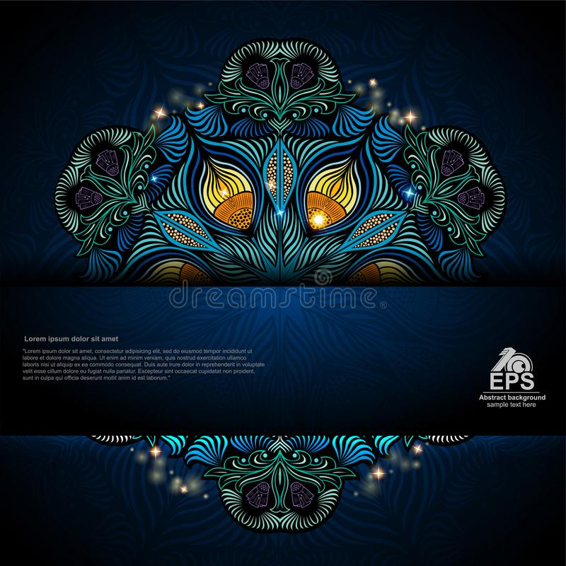Fond bleu abstrait de plume de fleur ou de paon illustration libre de droits