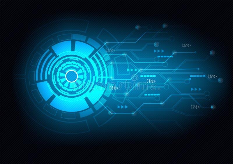 Fond bleu abstrait de technologie Dirigez le cercle et la ligne électrique avec le cycle électronique bleu image libre de droits