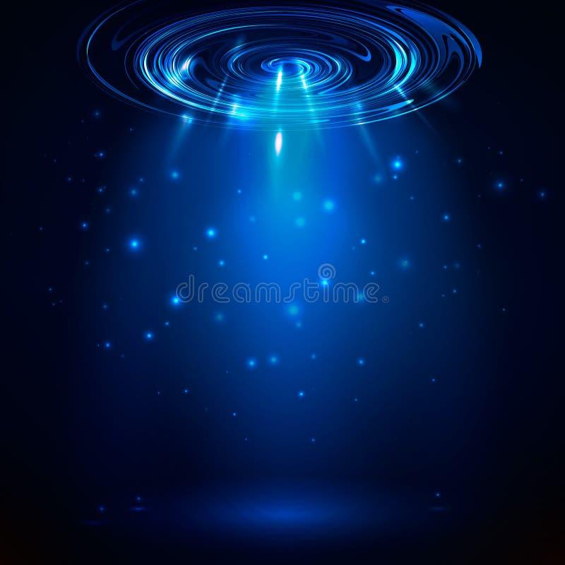 Fond bleu abstrait de vecteur Lumière rougeoyante de vecteur illustration stock