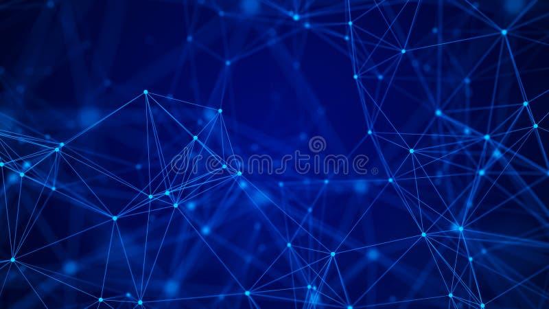 Fond bleu abstrait Effet de plexus Structure de connexion r?seau rendu 3d photo stock