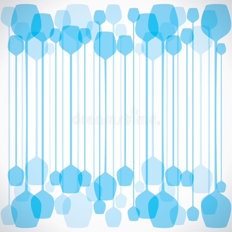 Fond bleu abstrait en verre de vin illustration de vecteur