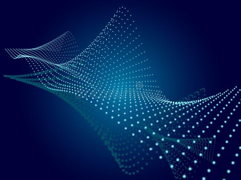 Fond bleu abstrait Structure onduleuse avec des particules illustration libre de droits