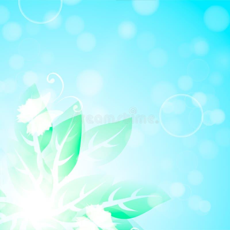 Fond bleu avec des feuilles et des papillons de vert illustration libre de droits