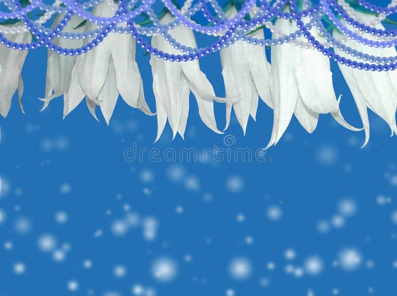 Fond bleu avec des fleurs photo libre de droits