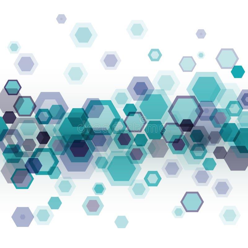 Fond bleu avec des hexagones illustration stock