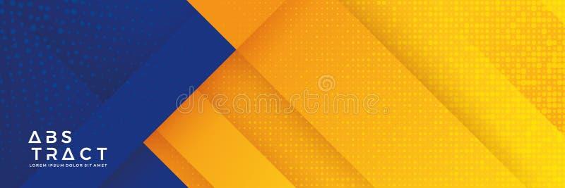 Fond bleu avec la composition orange et jaune en couleur dans le résumé Milieux abstraits avec une combinaison des lignes et du c illustration stock