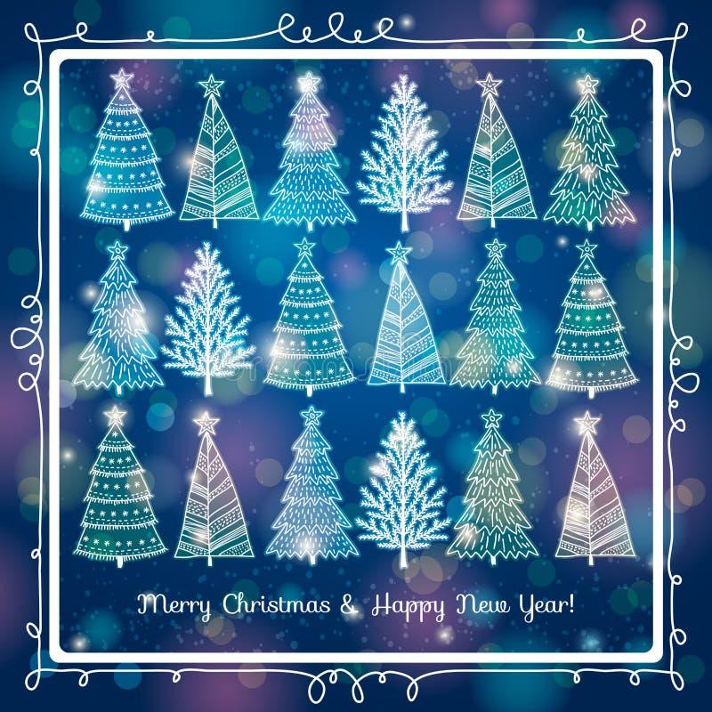 Fond bleu avec la forêt d'arbres de Noël, v illustration stock