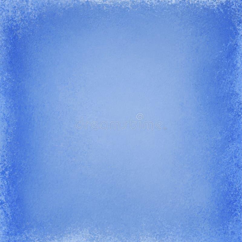 Fond bleu avec la texture bleu-foncé et la conception grunge de frontière, vieille illustration élégante de papier blanc image libre de droits