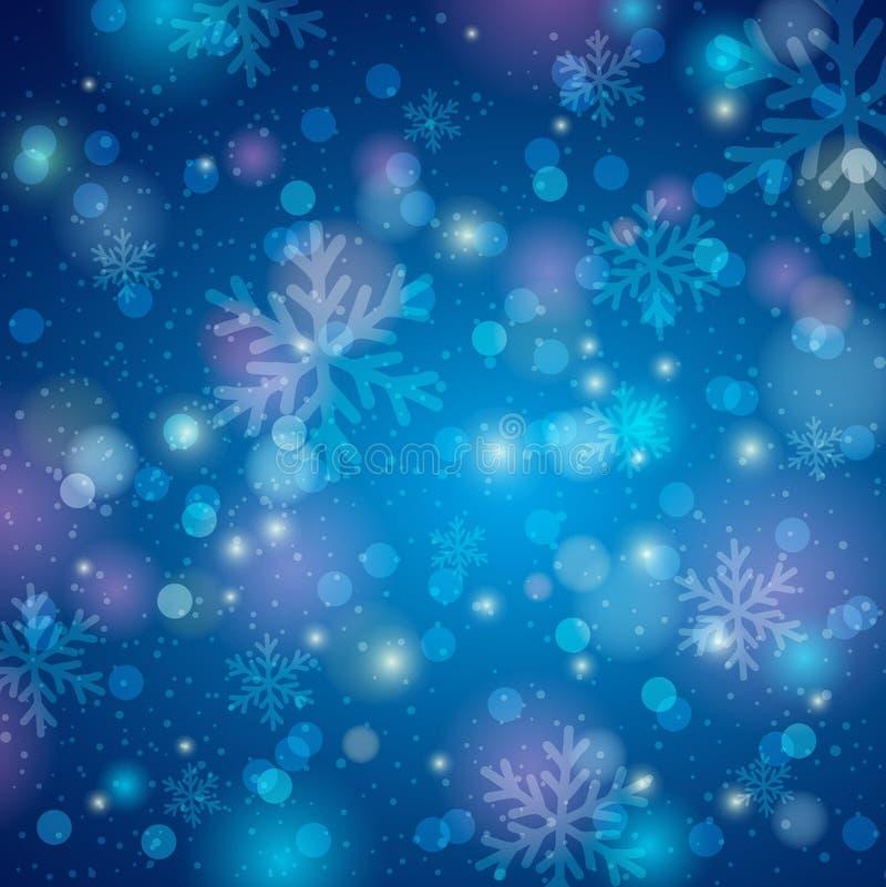 Fond bleu avec le flocon de neige et le bokeh, vecteur illustration de vecteur