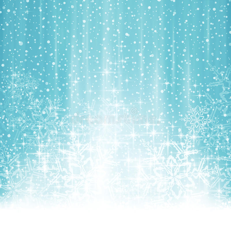 Fond bleu blanc abstrait de Noël d'hiver avec des chutes de neige illustration libre de droits