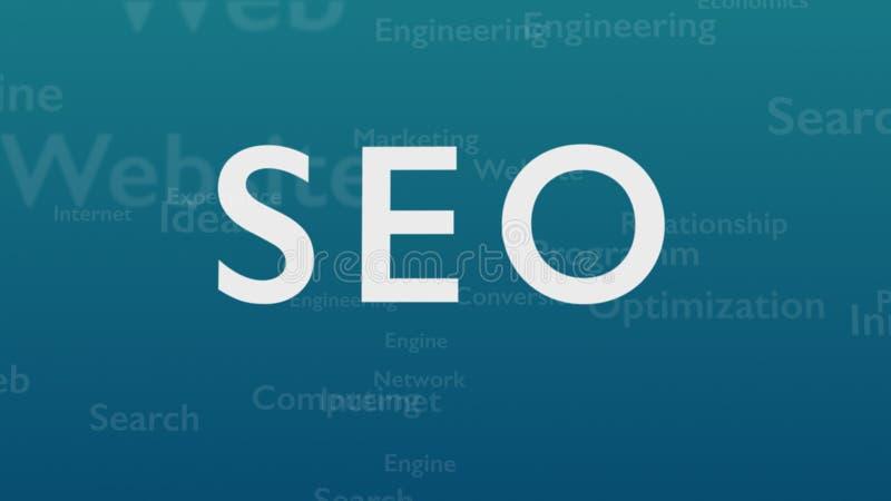 Fond bleu-clair avec différents mots, qui traitent l'optimisation de moteur de recherche Le mot audacieux est situé sur illustration de vecteur