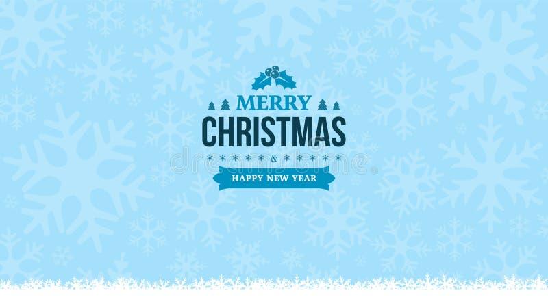 Fond bleu-clair d'hiver avec des flocons de neige Insigne de vintage de la nouvelle année 2018 et du Joyeux Noël Carte de voeux,  illustration stock