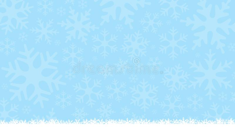 Fond bleu-clair d'hiver avec des silhouettes de flocon de neige Fond mou de nouvelle année et de Noël Carte de voeux, calibre de  illustration stock