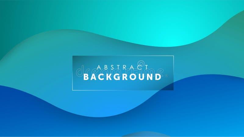Fond bleu-clair liquide de couleur de gradient Le liquide forme le concept futuriste Papier peint onduleux créatif Conception pou illustration libre de droits