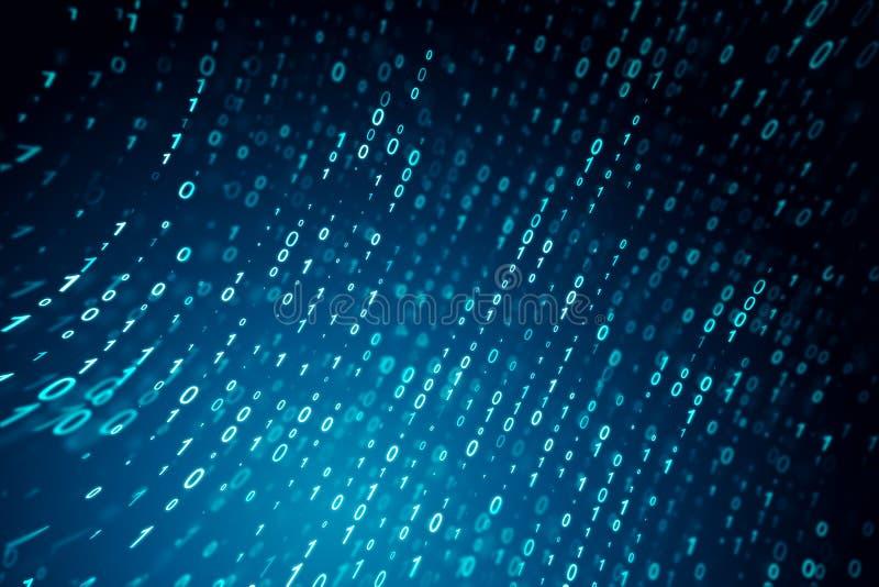 Fond bleu créatif de code binaire illustration de vecteur