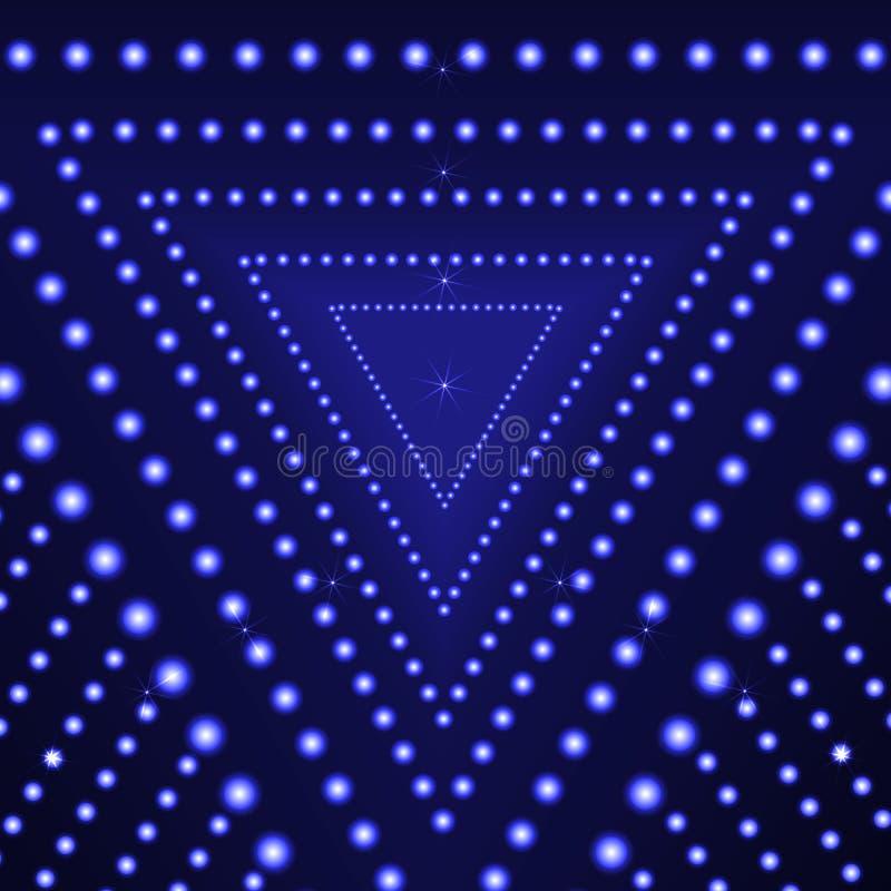 Fond bleu d'éclat de triangle de vecteur, cercles rougeoyants, lumières abstraites illustration de vecteur