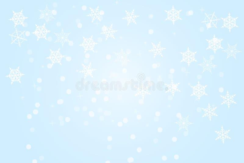 Fond bleu d'abrégé sur l'hiver Fond de Noël avec des flocons de neige et place pour le texte illustration libre de droits