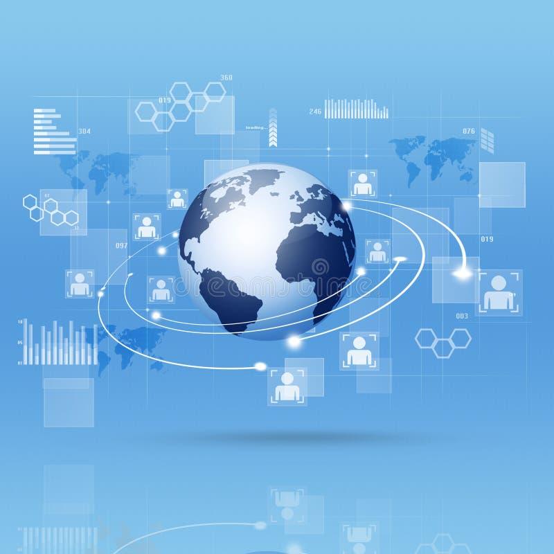 Fond bleu d'affaires d'interface de Digital illustration stock