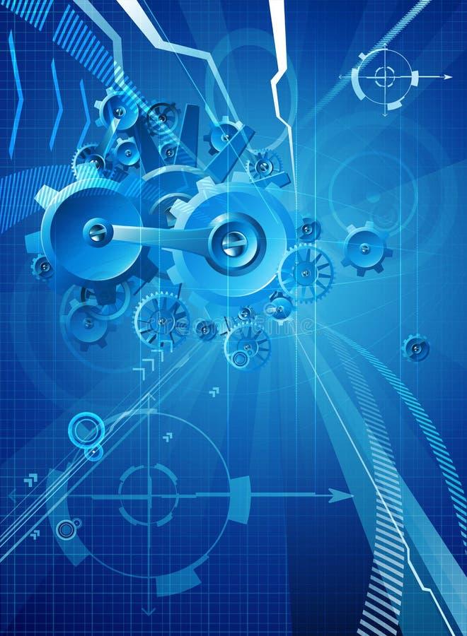 Fond bleu d'affaires de vitesses et de dents illustration de vecteur