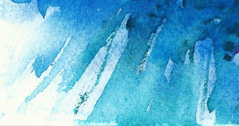 Fond bleu d'aquarelle Courses diagonales de brosse images stock
