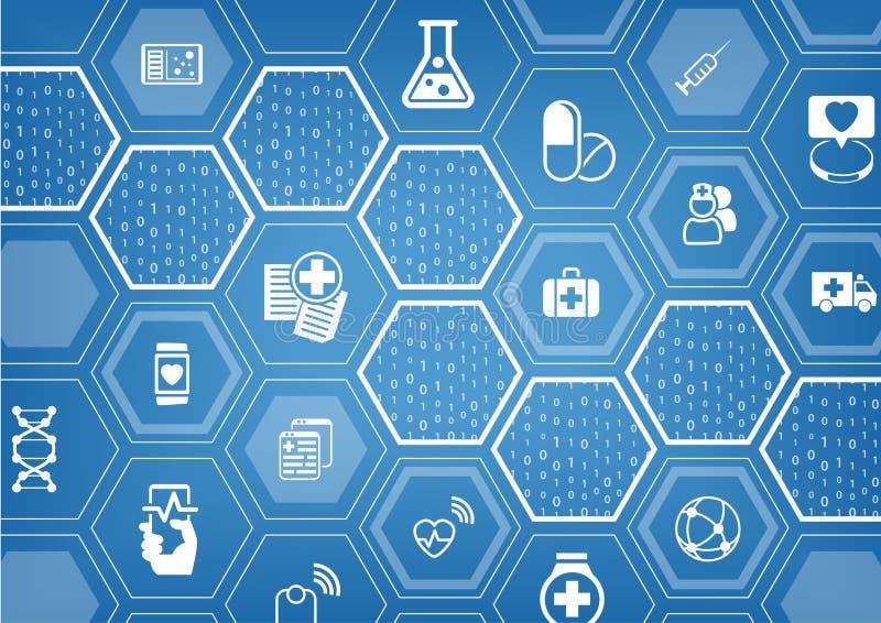 Fond bleu d'e-soins de santé électroniques avec des formes hexagonales illustration de vecteur