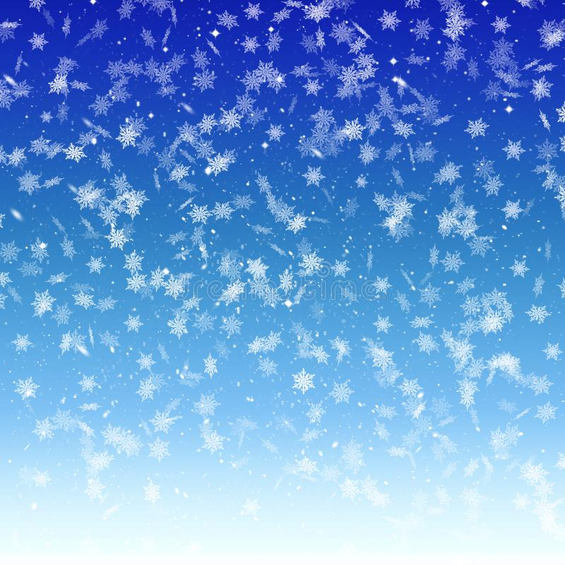 Fond bleu d'hiver avec les flocons de neige en baisse, neige, ciel, winte illustration stock