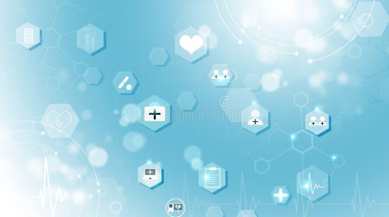 Fond bleu d'icônes de médecine images stock