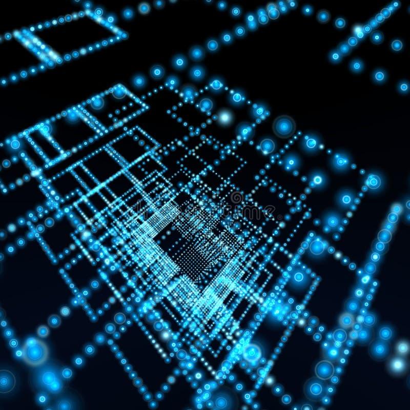 Fond bleu d'illustration de sphère de réseau images stock