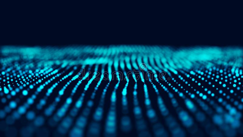 Fond bleu d'informatique Grande visualisation de donn?es Paysage de technologie rendu 3d illustration de vecteur