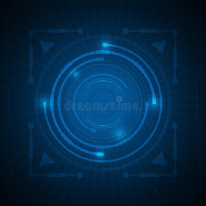 Fond bleu d'obscurité de technologie de modèle de concept innovateur abstrait de conception illustration de vecteur
