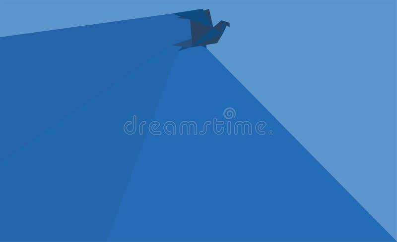 Fond bleu d'oiseau d'origami photos stock