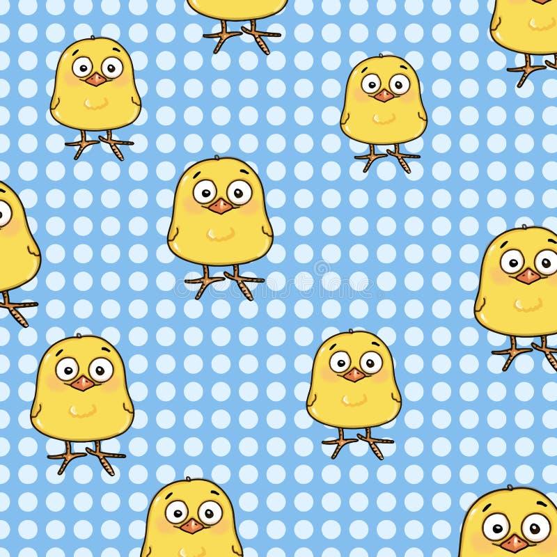 Fond bleu de blanc d'illustration de fond de cercle de poussin jaune mignon illustration stock