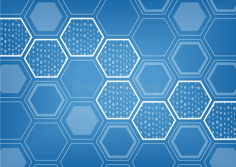 Fond bleu de Blockchain avec le modèle formé hexagonal illustration de vecteur