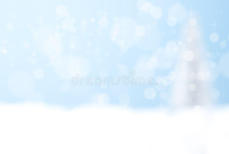 Fond bleu de bokeh de l'arbre de Noël argenté photographie stock