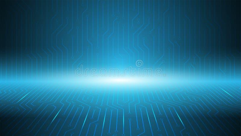 Fond bleu de bord de serveur de circuit, fond de technologie, compu illustration de vecteur