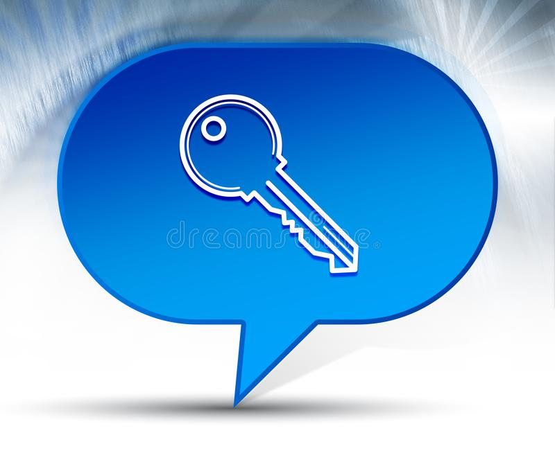 Fond bleu de bulle d'icône de clé illustration de vecteur