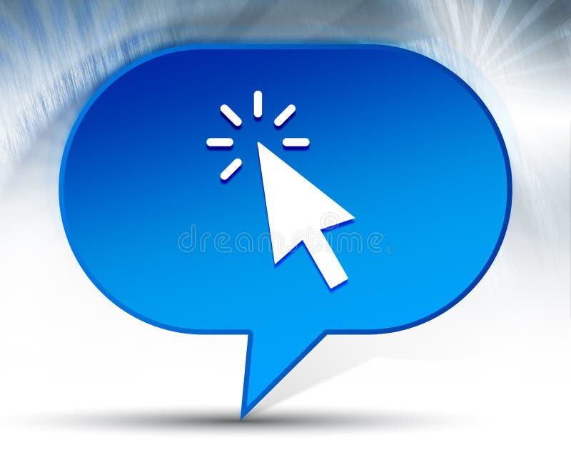 Fond bleu de bulle d'icône de clic de curseur photographie stock libre de droits