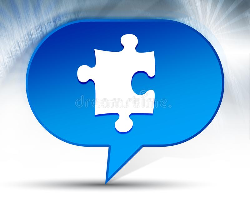 Fond bleu de bulle d'icône de puzzle illustration stock